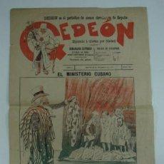 Coleccionismo de Revistas y Periódicos: GEDEON. SEMANARIO SATÍRICO. 30 DE DICIEMBRE DE 1897. Nº 112. 40 X 28 CM. . Lote 18832301