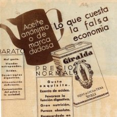 Coleccionismo de Revistas y Periódicos: SEVILLA 1932 LA GIRALDA ACEITE DE OLIVA LUCA DE TENA HOJA REVISTA. Lote 18927126