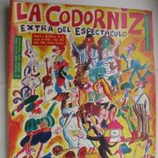 Coleccionismo de Revistas y Periódicos: LA CODORNIZ 1486 EXTRA DEL EXPECTACULO - PORTADA ABELENDA. Lote 61393261