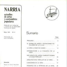 Coleccionismo de Revistas y Periódicos: NARRIA. REVISTA DE ARTES Y COSTUMBRES POPULARES. VERA DE CACERES. MADRID, 1975. Nº. 0.. Lote 20207967