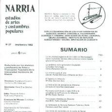 Coleccionismo de Revistas y Periódicos: NARRIA. MONOGRÁFICO DEDICADO A LA PROVINCIA DE ALBACETE. Nº 27. AÑO 1982. Lote 20262504
