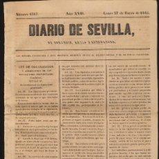 Coleccionismo de Revistas y Periódicos: DIARIO DE SEVILLA Nº 6367. LUNES 27 DE ENERO DE 1845.. Lote 20507205