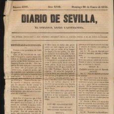 Coleccionismo de Revistas y Periódicos: DIARIO DE SEVILLA Nº 6366. DOMINGO 26 DE ENERO DE 1845.. Lote 20507237