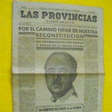 Coleccionismo de Revistas y Periódicos: LAS PROVINCIAS. DIARIO GRÁFICO. 11 AGOSTO 1939.. Lote 20587065
