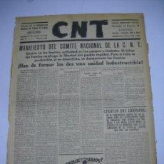 Coleccionismo de Revistas y Periódicos: GUERRA CIVIL . PERIÓDICO CNT. 29 AGOSTO 1936. MANIFIESTO COMITE NACIONAL C.N.T. DIBUJO DE GALLO.. Lote 26712616