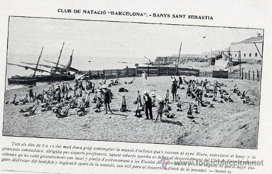 Banos San Sebastian.Barcelona 1911 Playa Barceloneta Banos San Sebastian Retal Revista