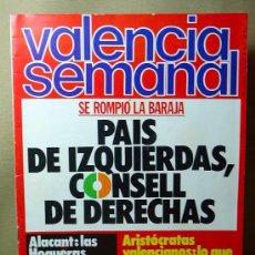 Coleccionismo de Revistas y Periódicos: REVISTA, VALENCIA SEMANAL, 1979, Nº 77, PAIS DE IZQUIERDAS, CONSELL DE DERECHAS, ALACANT, ARISTOCRAT. Lote 21391771