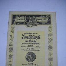 Coleccionismo de Revistas y Periódicos: CRONICA LITERARIA, REVISTA CERVANTINA. PORTADA CON FACSIMIL DE LA SEXTA EDICIÓN DEL QUIJOTE. 1934. . Lote 21545615