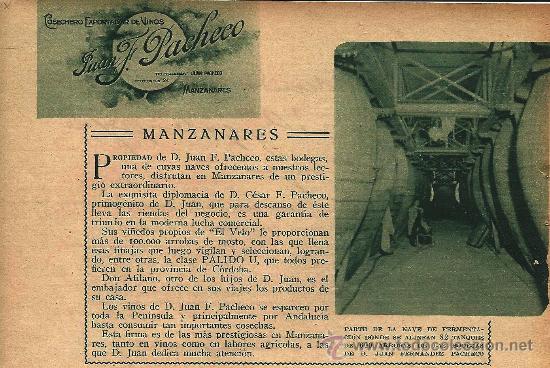 * MANZANARES, CIUDAD REAL * PUBLICIDAD COSECHERO D. JUAN F. PACHECO- 1933 (Coleccionismo - Revistas y Periódicos Antiguos (hasta 1.939))