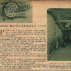 Coleccionismo de Revistas y Periódicos: * MANZANARES, CIUDAD REAL * PUBLICIDAD COSECHERO D. JUAN F. PACHECO- 1933. Lote 21787942