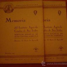 Coleccionismo de Revistas y Periódicos: 2 REVISTAS MEMORIA DEL INSTITUTO AGRICOLA CATALAN DE SAN ISIDRO. Lote 21812292