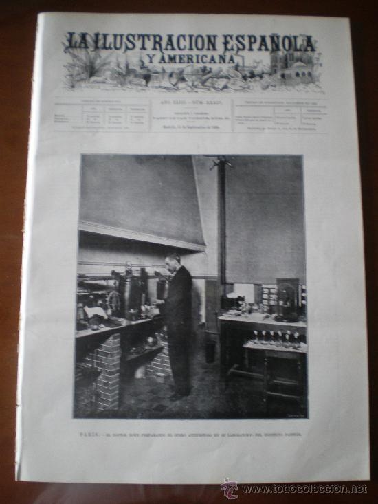 ILUSTRACION ESPAÑOLA/AMERICANA (15/09/99) GUADALAJARA PIOZ PASTEUR HAES LEQUEITO CERILLAS (Coleccionismo - Revistas y Periódicos Antiguos (hasta 1.939))