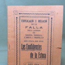 Coleccionismo de Revistas y Periódicos: LLIBRET DE LA FALLA DELS CARRERS DE SANTA TERESA, CARDA I MURILLO, 1928, VALENCIA. Lote 22211386