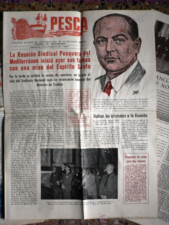 Coleccionismo de Revistas y Periódicos: TRES NÚMEROS DE PESCA BOLETÍN DIARIO DE INFORMACIÓN DE LA REUNIÓN SINDICAL PESQUERA BARCELONA 1955 - Foto 3 - 26777443