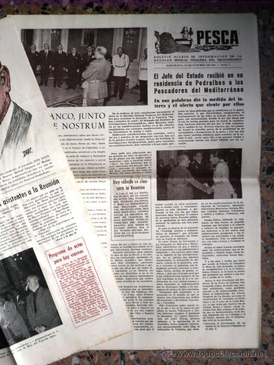 Coleccionismo de Revistas y Periódicos: TRES NÚMEROS DE PESCA BOLETÍN DIARIO DE INFORMACIÓN DE LA REUNIÓN SINDICAL PESQUERA BARCELONA 1955 - Foto 4 - 26777443