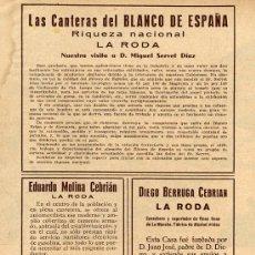 Coleccionismo de Revistas y Periódicos: LA RODA 1935 INDUSTRIAS HOJA REVISTA. Lote 23746577