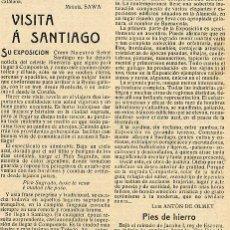 Coleccionismo de Revistas y Periódicos: SANTIAGO DE COMPOSTELA 1909 GALICIA EXPOSICION COMENTARIO VIAJE RETAL HOJA REVISTA. Lote 23799924
