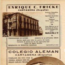 Coleccionismo de Revistas y Periódicos: CARTAGENA 1936 INDUSTRIAS HOJA REVISTA. Lote 24041824