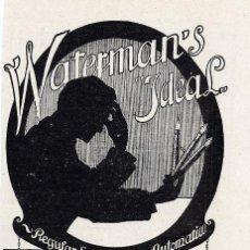 Coleccionismo de Revistas y Periódicos: WATERMAN´S 1917 PLUMAS ESTILOGRAFICAS RETAL HOJA REVISTA. Lote 24406440