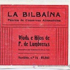 Coleccionismo de Revistas y Periódicos: BILBAO 1915 CONSERVAS LA BILBAINA F. DE LUMBRERAS RETAL HOJA REVISTA. Lote 24413371