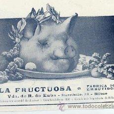 Coleccionismo de Revistas y Periódicos: BILBAO 1914 LA FRUCTUOSA EMBUTIDOS FABRICA RETAL HOJA REVISTA. Lote 24413698