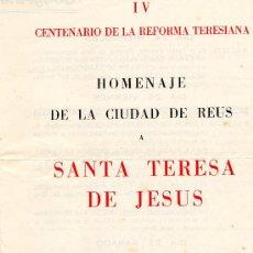 Coleccionismo de Revistas y Periódicos: HOMENAJE REUS A SANTA TERESA DE JESÚS 1963. Lote 26628826