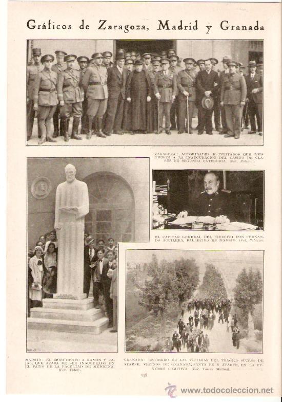RECORTE PRENSA.AÑO 1931.MADRID.MONUMENTO A RAMON Y CAJAL.GRANADA.ATARFE.ENTIERRO VICTIMAS ATARFE. (Coleccionismo - Revistas y Periódicos Modernos (a partir de 1.940) - Otros)