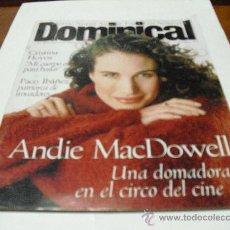 Coleccionismo de Revistas y Periódicos: REV.DOMINICAL 12/1996.-ANDIE MAC DOWELL, RPTJE CRISTINA HOYOS,LUCRECIA, PACO IBAÑEZ,HONDURAS.. Lote 25711975