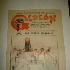 Coleccionismo de Revistas y Periódicos: GEDEON. SEMANARIO SATIRICO. DON FRUTOS COLONIALES. Nº 62. 1897.. Lote 25766594