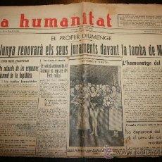 Coleccionismo de Revistas y Periódicos: LA HUMANITAT - ANY IV Nº 752 - 10-04-1934. Lote 26309888