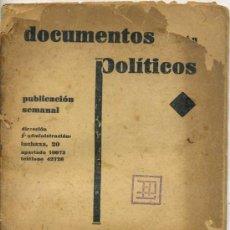 Coleccionismo de Revistas y Periódicos: REVISTA DOCUMENTOS POLÍTICOS - AÑO 1 Nº1 (1931) POR GREGORIO MARAÑON. Lote 26347065