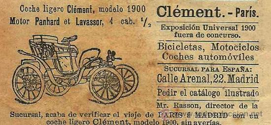 * AUTOMÓVILES * PUBLICIDAD COCHE LIGERO CLEMENT MODELO 1900 - 1901 (Coleccionismo - Revistas y Periódicos Antiguos (hasta 1.939))