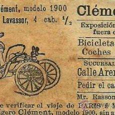 Coleccionismo de Revistas y Periódicos: * AUTOMÓVILES * PUBLICIDAD COCHE LIGERO CLEMENT MODELO 1900 - 1901. Lote 46751110