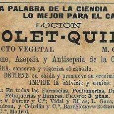 Coleccionismo de Revistas y Periódicos: PUBLICIDAD LOCIÓN VIOLET -QUINA - 1901. Lote 27398728