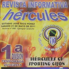 Coleccionismo de Revistas y Periódicos: ALICANTE, FÚTBOL REVISTA INFORMATIVA HÉRCULES, 21 DE MAYO 2011-HÉRCULES-SPORTING DE GIJÓN. Lote 27167098