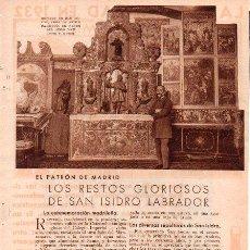 Coleccionismo de Revistas y Periódicos: LOS RESTOS GLORIOSOS DE SAN ISIDRO LABRADOR. MADRID. 1933. 2 HOJAS DE REVISTA.. Lote 28149944