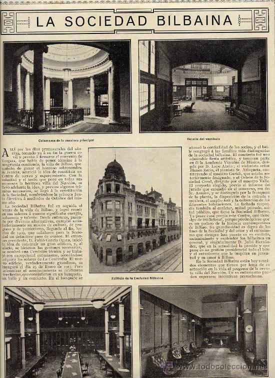 BILBAO 1916 SOCIEDAD BILBAINA HOJA REVISTA (Coleccionismo - Revistas y Periódicos Modernos (a partir de 1.940) - Otros)