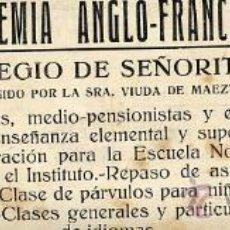Coleccionismo de Revistas y Periódicos: BILBAO 1916 ACADEMIA ANGLO-FRANCESA RETAL HOJA REVISTA. Lote 27961673