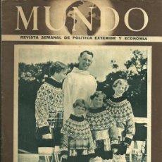 Coleccionismo de Revistas y Periódicos: REVISTA MUNDO Nº 684, 14 DE JUNIO DEL 1953 LOS REYES DE DINAMARCA CON SUS HIJOS. Lote 28156815