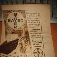 Coleccionismo de Revistas y Periódicos: ASPIRINA BAYER PUBLICIDAD HOJA DE REVISTA BLANCO Y NEGRO 1936 . Lote 28171473
