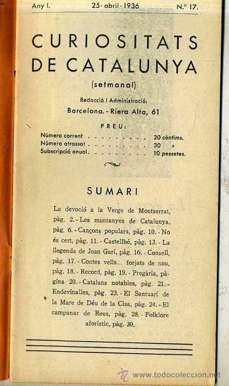 CURIOSITATS DE CATALUNYA Nº 17 (25 ABRIL 1936) - REVISTA ILUSTRADA EN CATALÁN (Coleccionismo - Revistas y Periódicos Antiguos (hasta 1.939))
