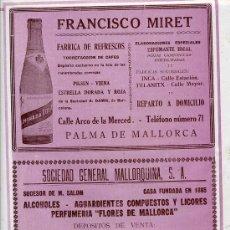 Coleccionismo de Revistas y Periódicos: PALMA DE MALLORCA 1927 REFRESCOS HOJA REVISTA. Lote 28467633