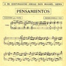 Coleccionismo de Revistas y Periódicos: PARTITURA 1914 PENSAMIENTOS HABANERA HOJA REVISTA. Lote 28812973