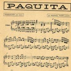 Coleccionismo de Revistas y Periódicos: PARTITURA 1913 PAQUITA HABANERA HOJA REVISTA. Lote 28812998