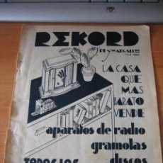 Coleccionismo de Revistas y Periódicos: REKORD APARATOS DE RADIO.GRAMOLAS.DISCOS PUBLICIDAD HOJA DE REVISTA BLANCO Y NEGRO 1934. Lote 28862390