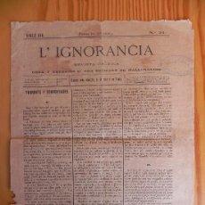 Coleccionismo de Revistas y Periódicos: 3 ANTIGUOS PERIÓDICOS MALLORQUINES. L'IGNORANCIA. SIGLO XIX. 1879 (FG00086). Lote 29318861