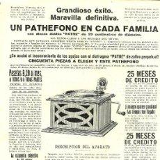 Coleccionismo de Revistas y Periódicos: PUBLICIDAD PHATEFONO PHATE - 1916. Lote 29363764