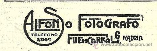 PUBLICIDAD FOTÓGRAFO ALFONSO- 1916 (Coleccionismo - Revistas y Periódicos Antiguos (hasta 1.939))