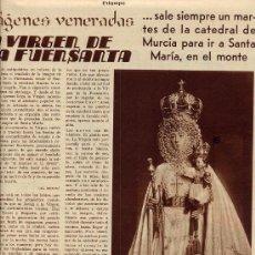 Coleccionismo de Revistas y Periódicos: MURCIA 1935 VIRGEN FUENSANTA SANTA MARIA HOJA REVISTA. Lote 29492252