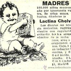 Coleccionismo de Revistas y Periódicos: PUBLICIDAD LACTINA CHELVI- 1916. Lote 29566928